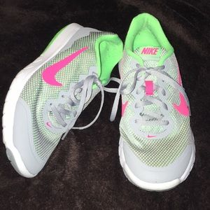 Nike Running Sneakers Pink Gray Lime Green Sz 8